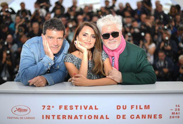 Antonio Banderas, Penélope Cruz y Pedro Almodóvar en el Festival de