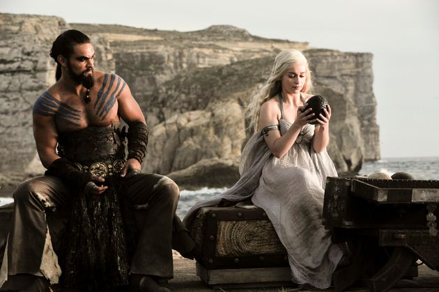 Dany with Khal Drogo at their wedding reception. She received three dragon eggs fromMagister