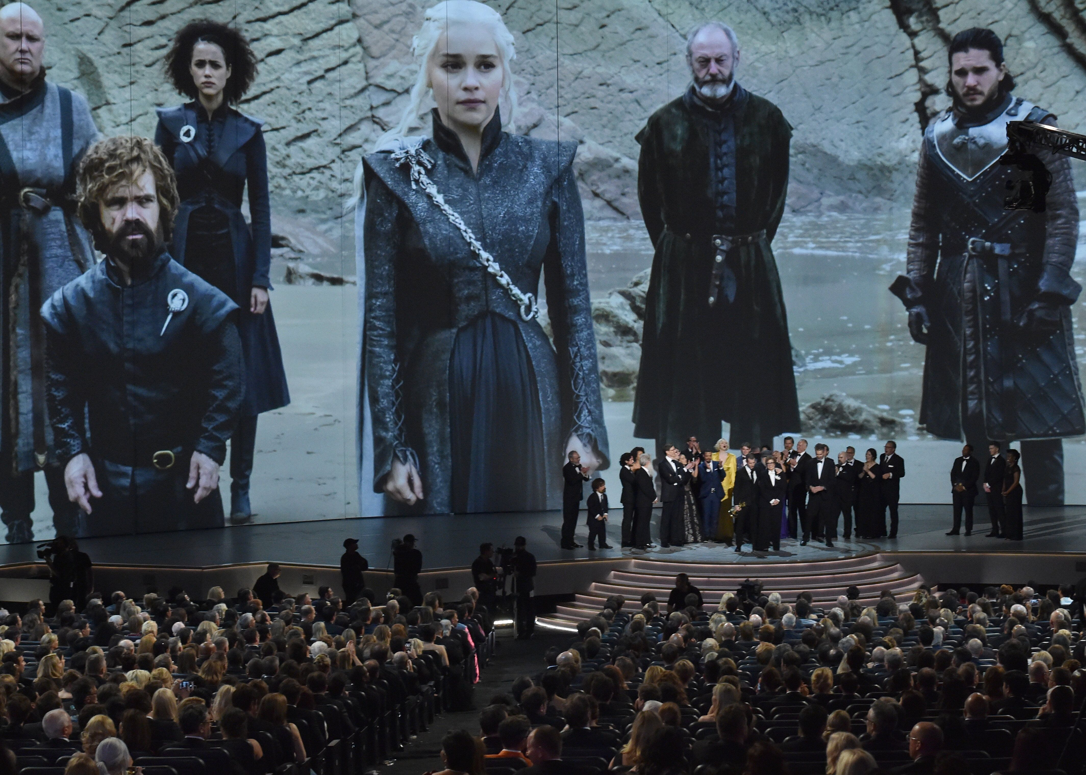 LOS ANGELES, CA - SEPTEMBER 17:  D. B. Weiss, David Benioff (C) and cast and crew accept award for Outstanding Drama Series, 'Game of Thrones' onstage during the 70th Emmy Awards at Microsoft Theater on September 17, 2018 in Los Angeles, California.  (Photo by Lester Cohen/WireImage)