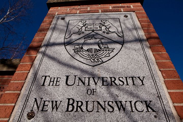The University of New Brunswick gate is pictured in Fredericton on April 3, 2012.