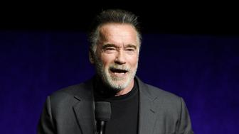 "FILE - In this Thursday, April 4, 2019 file photo, Arnold Schwarzenegger, a cast member in the upcoming film ""Terminator: Dark Fate,"" discusses the film during the Paramount Pictures presentation at CinemaCon 2019, the official convention of the National Association of Theatre Owners (NATO) at Caesars Palace, in Las Vegas. New video on Saturday, May 18, 2019 shows actor Arnold Schwarzenegger being assaulted during a public appearance in South Africa. It shows the 71-year-old standing and filming children at a sporting event in Johannesburg when a man makes a flying kick into his back. (Photo by Chris Pizzello/Invision/AP, File)"