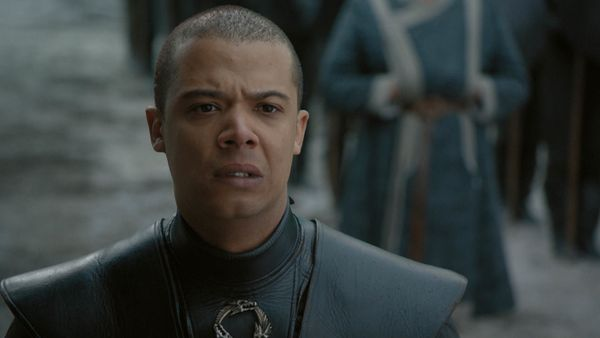 Grey Worm (Jacob Anderson) is over all this nonsense about Jon being pardoned after killing Daenerys. He takes the Unsullied