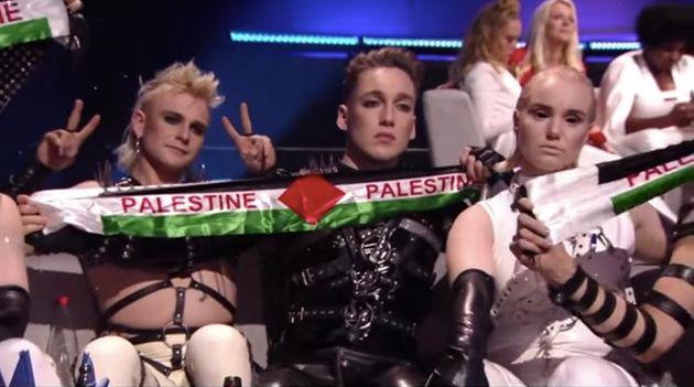 Le groupe islandais Hatari a sorti un drapeau palestinien devant la caméra de l'Eurovision, qui...