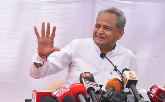 Rajasthan Chief Minister Ashok Gehlot interacts with media persons at a press conference at his residence...