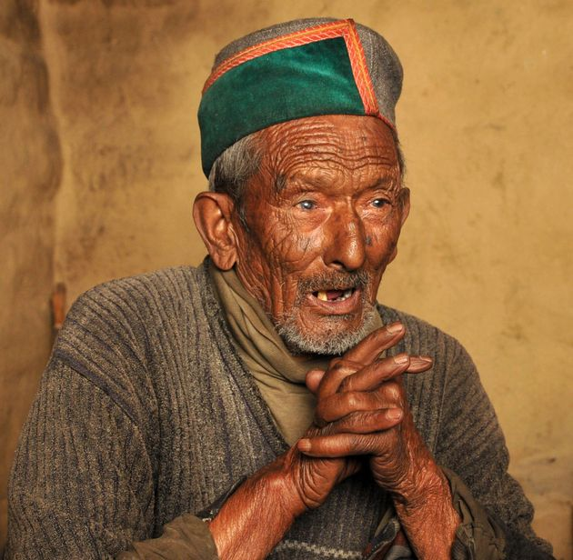 In this photograph taken on April 24, 2014, then ninety-seven year old Indian resident Shyam Saran Negi,...