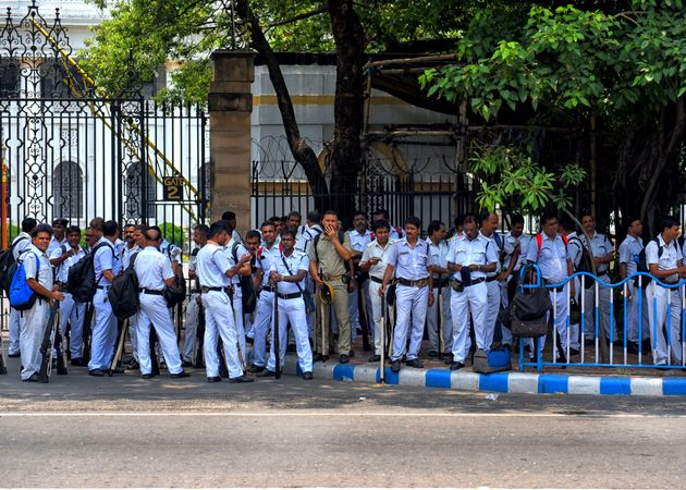 Police officers in Kolkata before going to the polling station. Representational