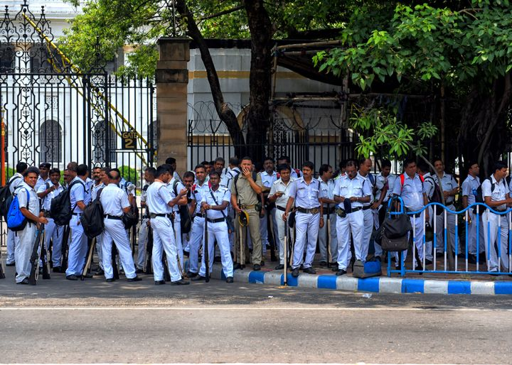 Police officers in Kolkata before going to the polling station. Representational image.