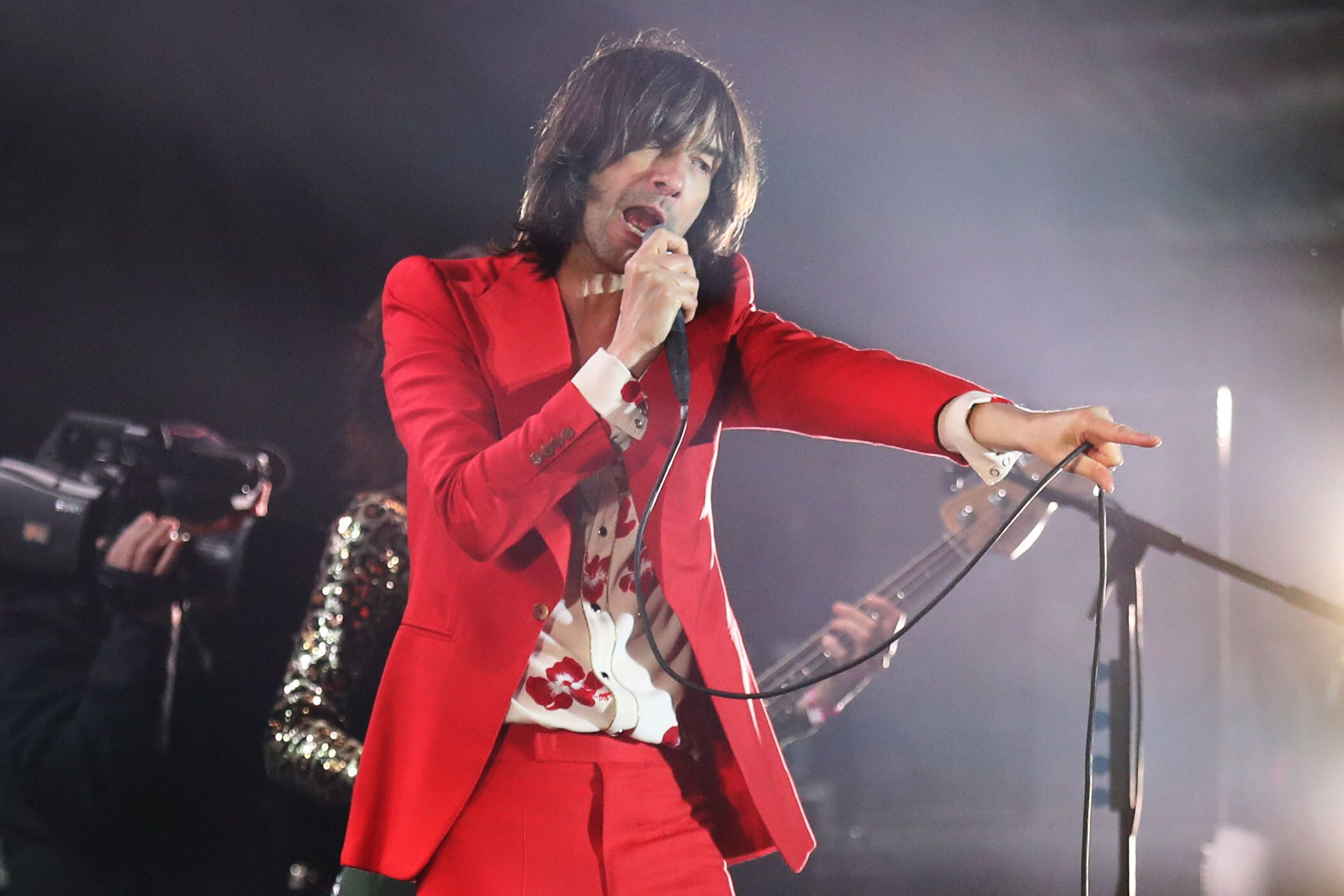 Lead singer of Primal Scream Bobby Gillespie performing at the 3D festival at Slessor Gardens in Dundee, a celebration of design, music and performance to mark the opening of V&A Dundee on September 15. (Photo by Andrew Milligan/PA Images via Getty Images)
