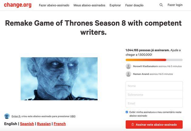 'Game of Thrones': Petição online pede que a última temporada da série seja