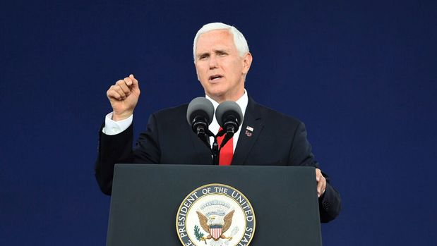 Vice President Mike Pence speaks at the Liberty University commencement ceremony in Lynchburg, Va., on Saturday, May 11, 2019. (Taylor Irby/The News & Advance via AP)