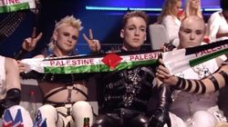 La UER penalizará al grupo de Islandia que sacó banderas de Palestina en