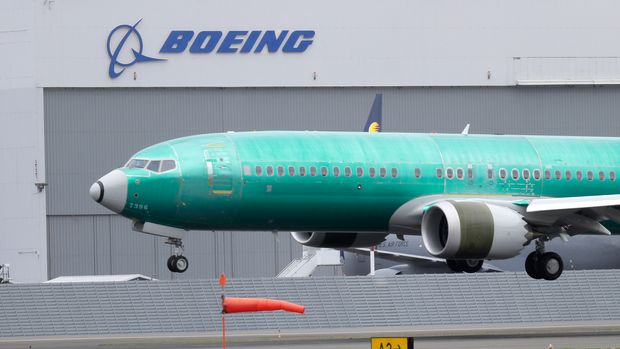 A Boeing 737 MAX 8 airplane being built for India-based Jet Airways lands following a test flight, Wednesday, April 10, 2019, at Boeing Field in Seattle. Flight test and other non-passenger-bearing flights of the plane continue in the Seattle area where the plane is manufactured, as a world-wide grounding the the 737 MAX 8 continues, following fatal crashes of MAX 8's operated by Ethiopian Airlines and Lion Air. (AP Photo/Ted S. Warren)