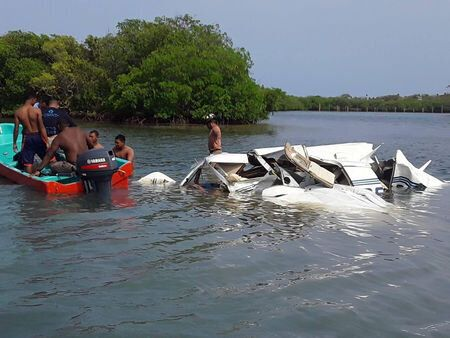 Wreckage of a plane that crashed in the Roatan Islands region in