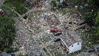 Aerial photo of the explosion site (Michael Clevegner/Courier Journal via AP)