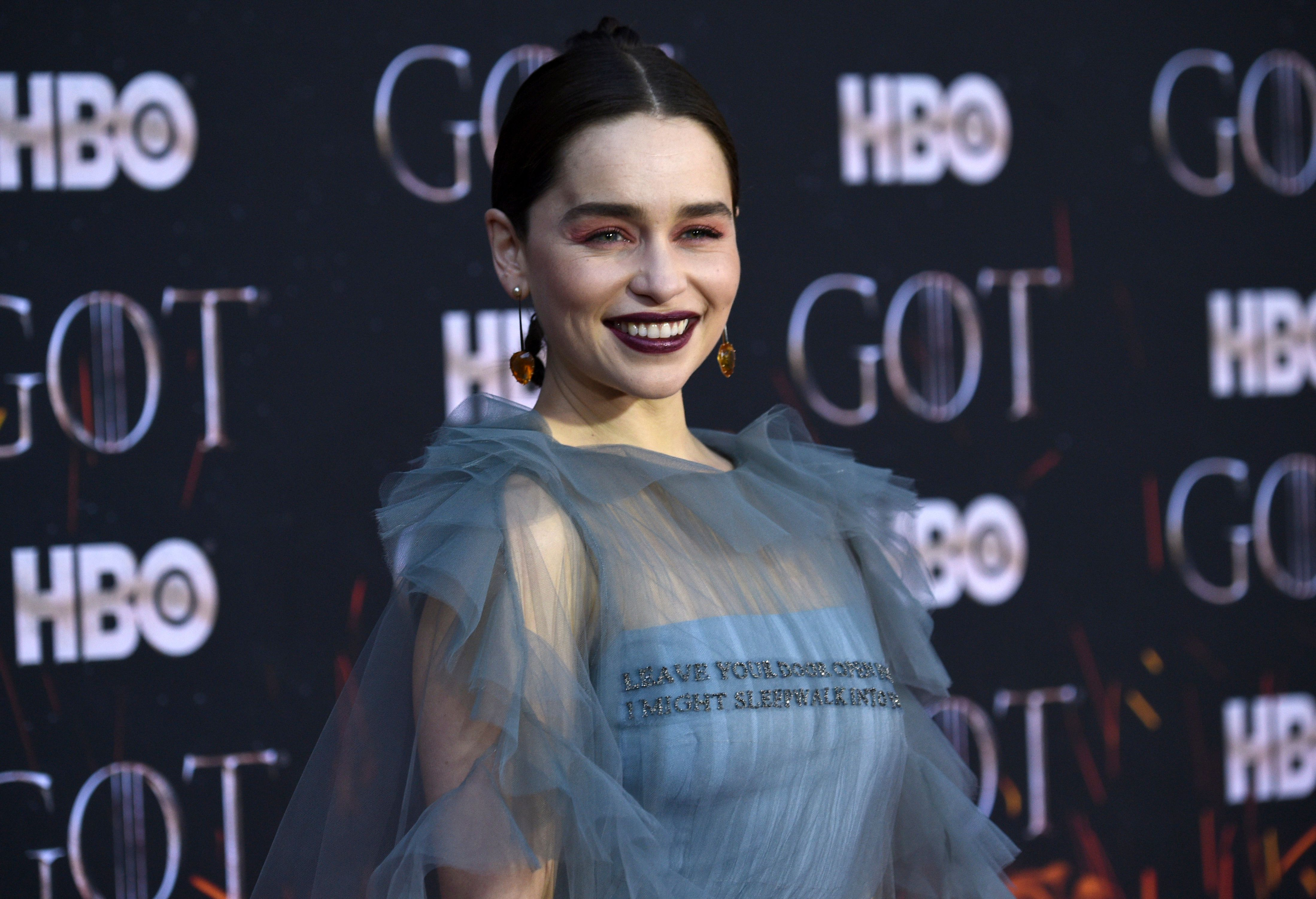 "Emilia Clarke attends HBO's ""Game of Thrones"" final season premiere at Radio City Music Hall on Wednesday, April 3, 2019, in New York. (Photo by Evan Agostini/Invision/AP)"