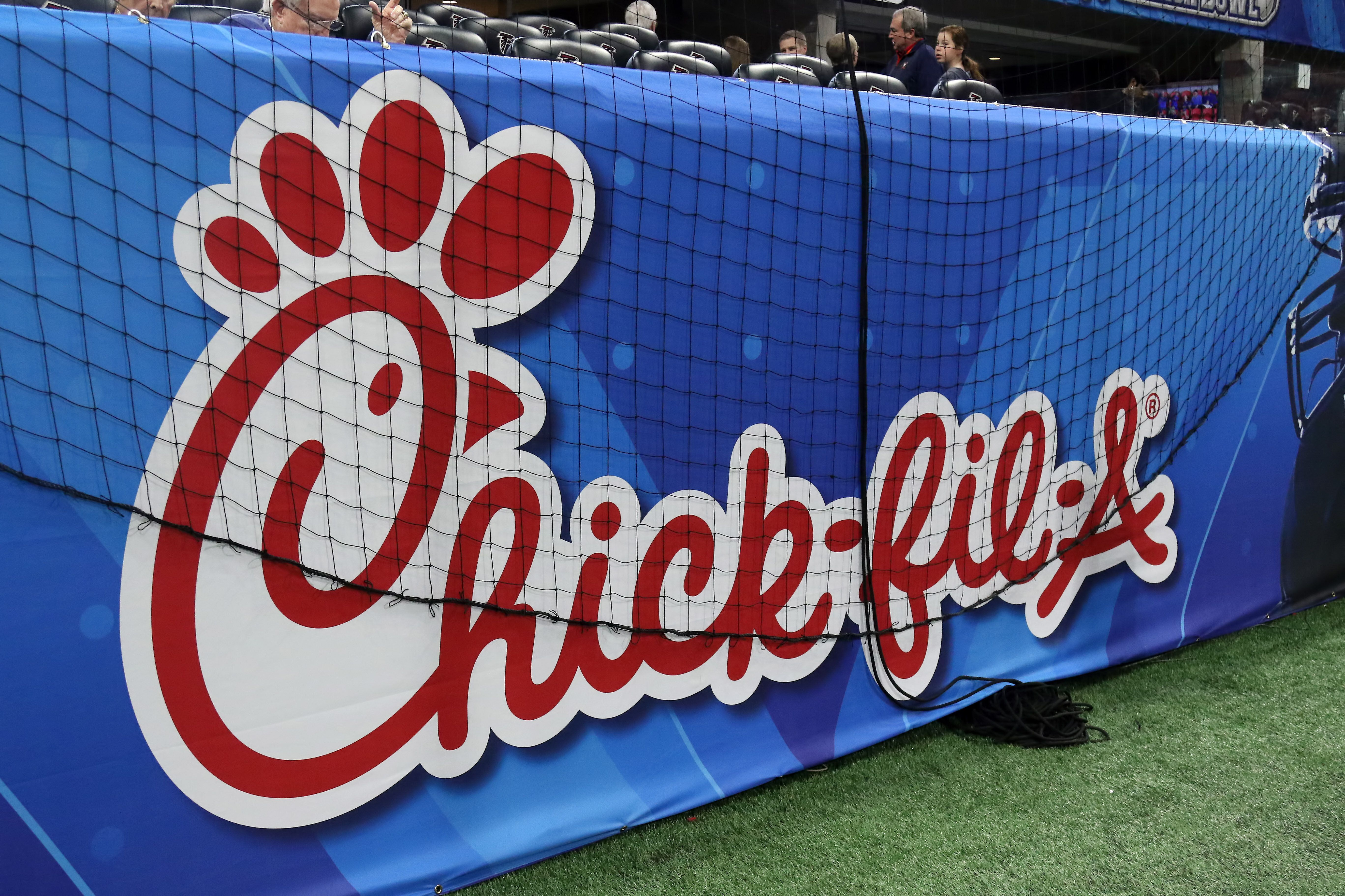 ATLANTA, GA - DECEMBER 29:   The Chick-fil-A logo is on display during the Peach Bowl between the Florida Gators and the Michigan Wolverines on December 29, 2018 at Mercedes-Benz Stadium in Atlanta, Georgia. (Photo by Michael Wade/Icon Sportswire via Getty Images)