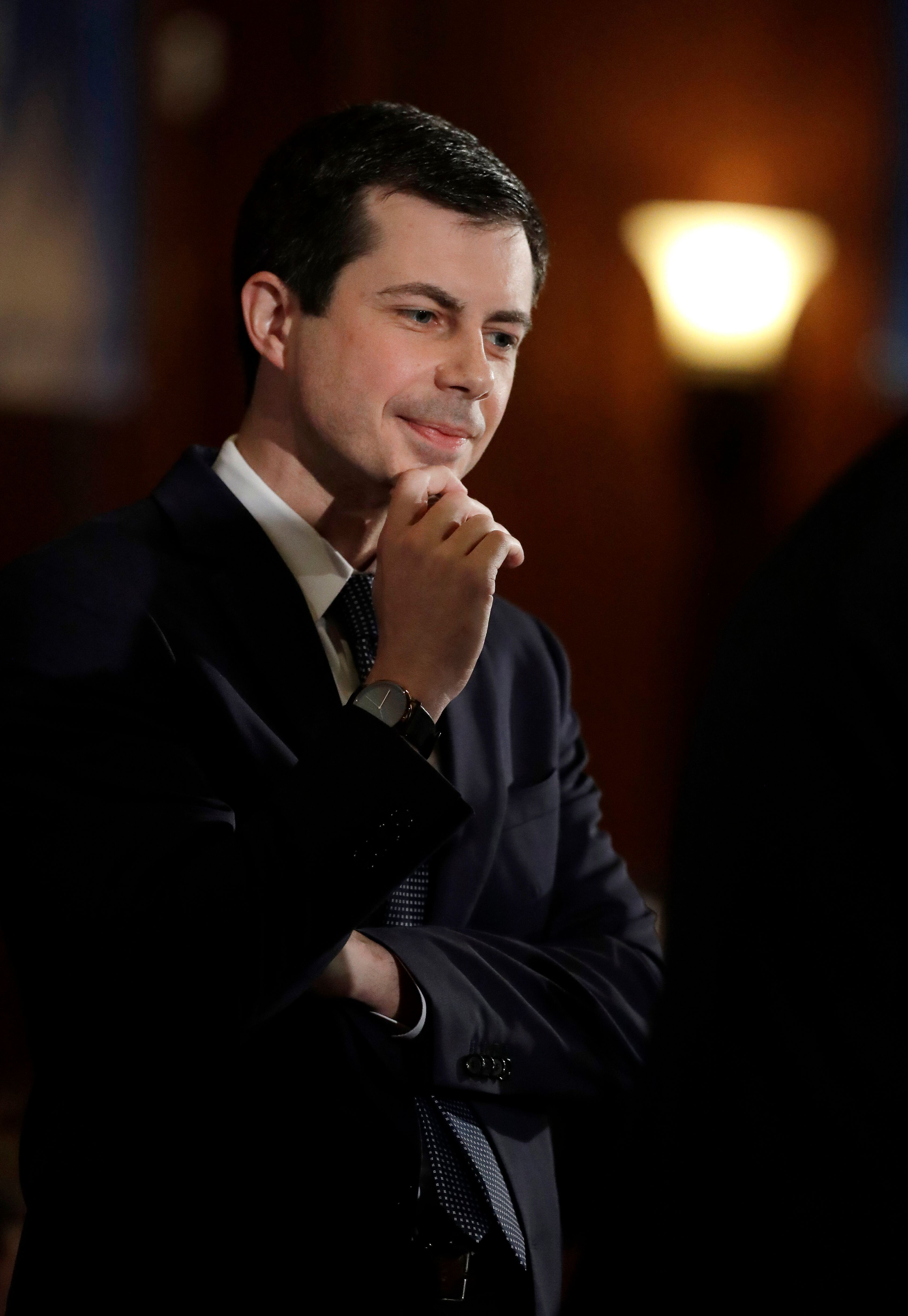 Democratic presidential candidate South Bend. Ind., Mayor Pete Buttigieg listens to a question after addressing the City Club of Chicago Thursday, May 16, 2019, in Chicago. (AP Photo/Charles Rex Arbogast)