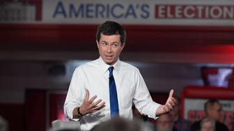 Democratic presidential candidate South Bend, Ind., Mayor Pete Buttigieg speaks speaks during a FOX News Channel town hall, Sunday, May 19, 2019, in Claremont, N.H. (AP Photo/Jessica Hill)