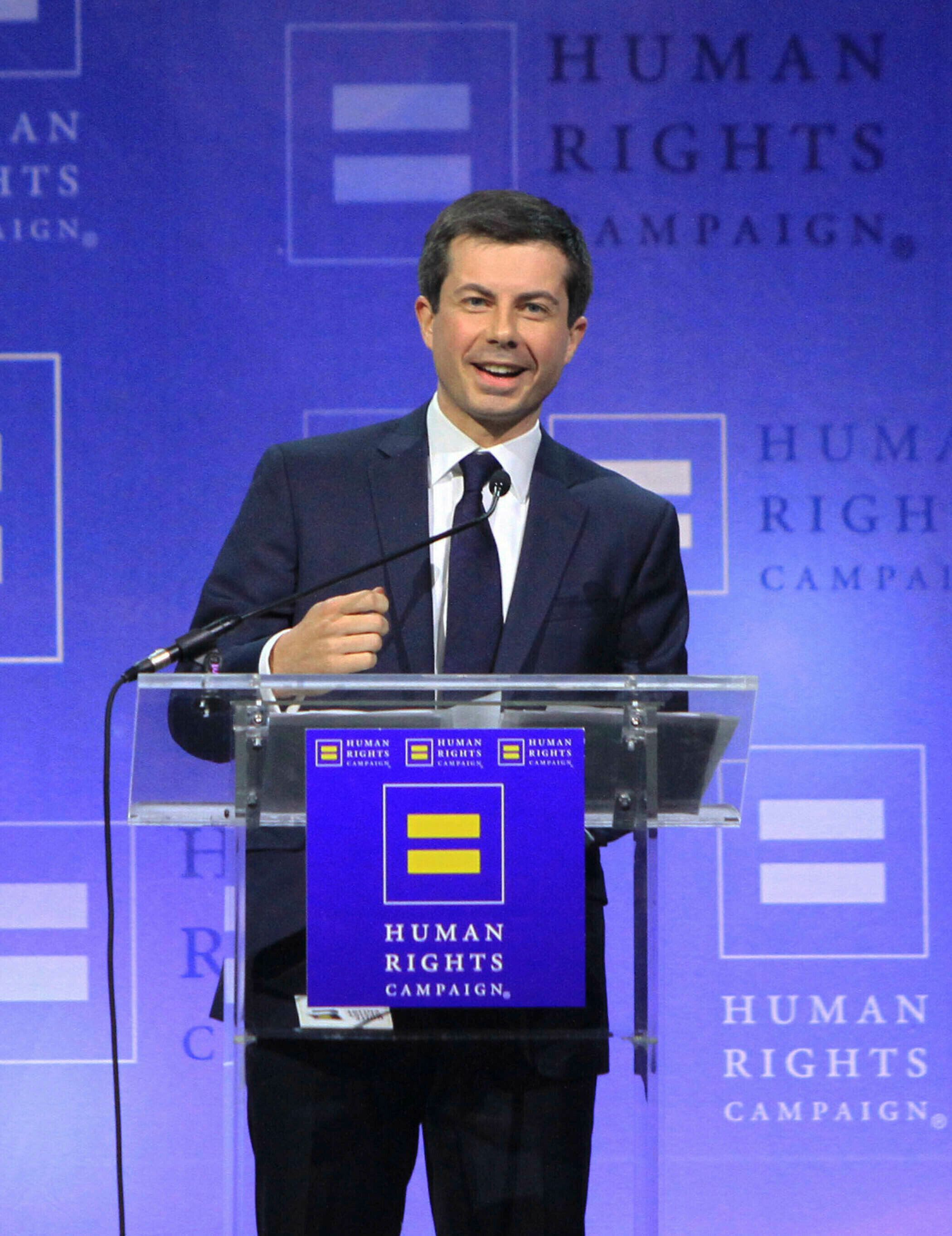 Photo by: Raoul Gatchalian/STAR MAX/IPx 2019 5/11/19 Democratic Presidential Candidate Pete Buttigieg delivers keynote address at Human Rights Campaign's 14th annual Las Vegas Gala at Caesars Palace in Las Vegas, Nevada.