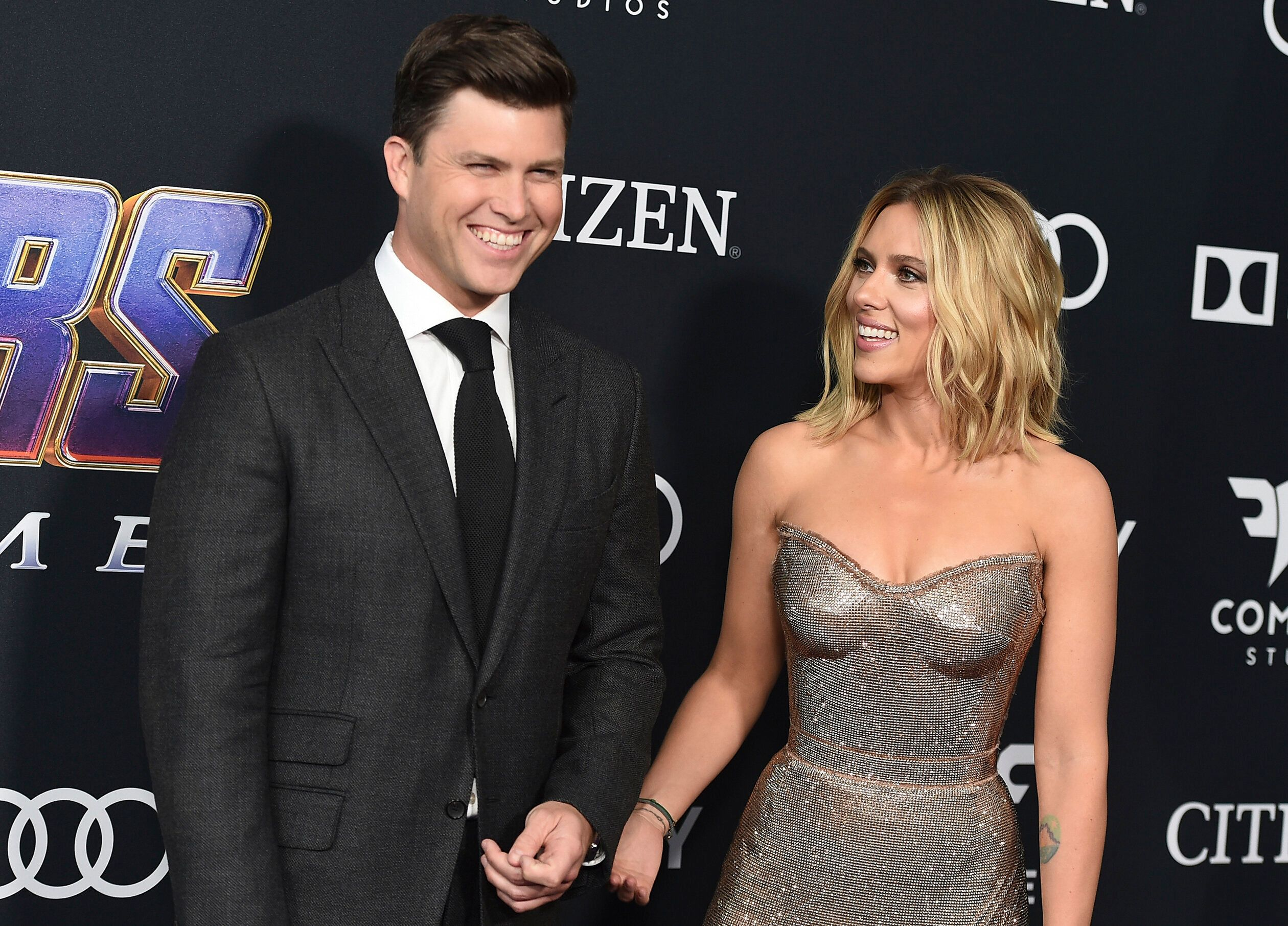"FILE - In this April 22, 2019, file photo, Colin Jost, left, and Scarlett Johansson arrive at the premiere of ""Avengers: Endgame"" at the Los Angeles Convention Center. Wedding bells are in the future for actress Scarlett Johansson and Saturday Night Live's Colin Jost. Johansson's publicist Marcel Pariseau tells The Associated Press Sunday, May 19, 2019, that the private couple is officially engaged after two years of dating. Pariseau says no date has been set for the nuptials. (Photo by Jordan Strauss/Invision/AP, File)"