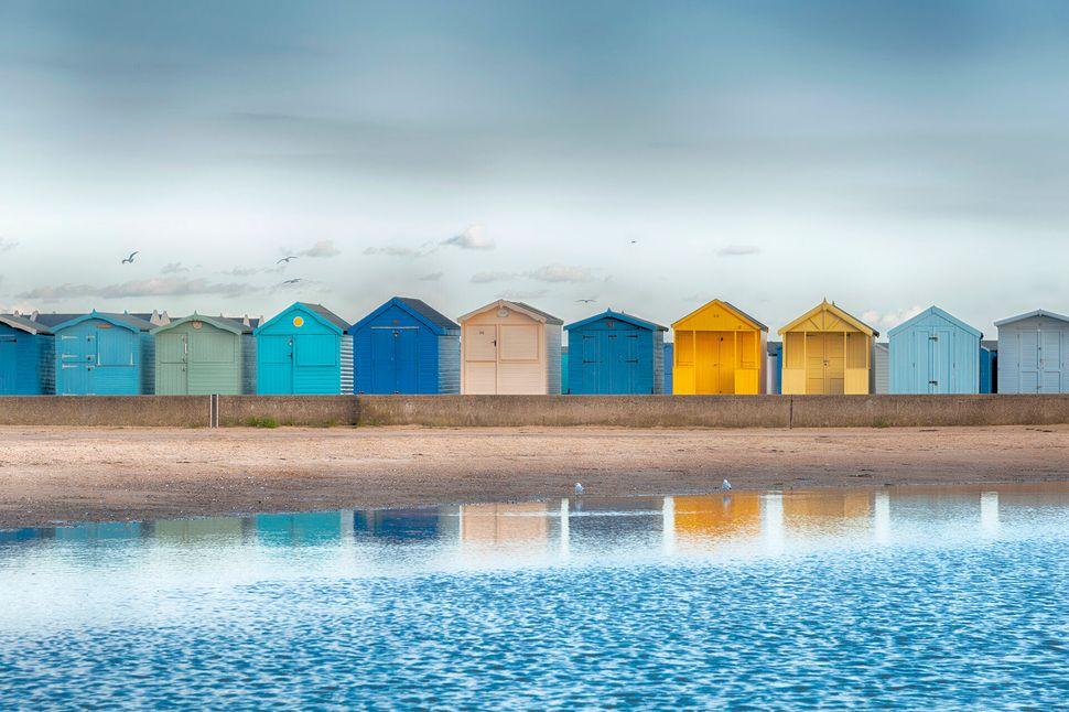 Beach huts at Brightlingsea, Essex taken just before dusk.