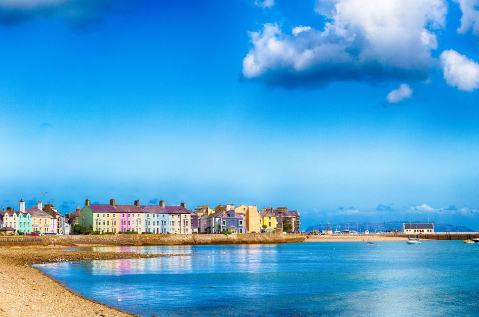Beaumaris Sealine: Colourful houses line the seafront in Beaumaris, Anglesey.