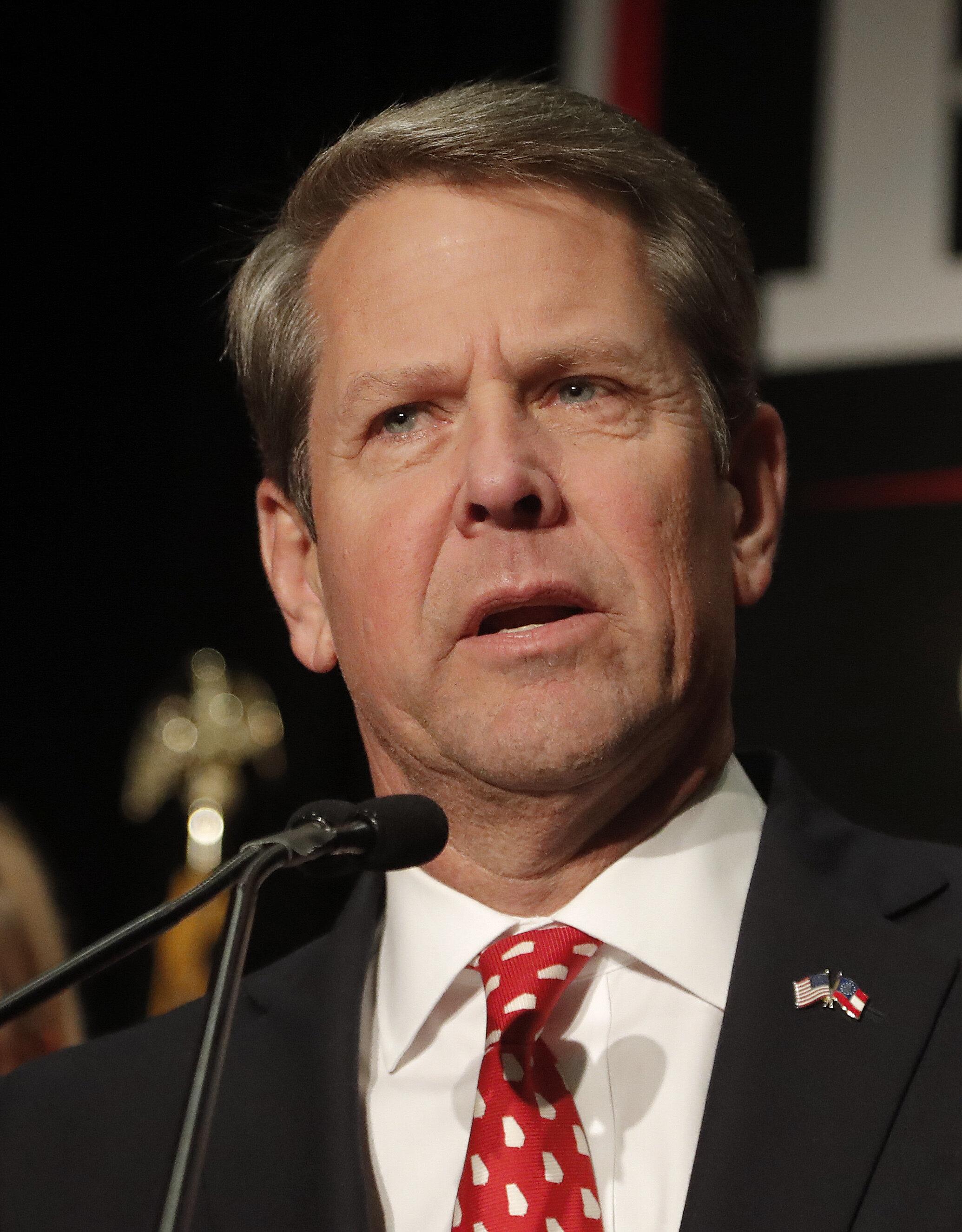 Georgia Republican gubernatorial candidate Brian Kemp speaks to supporters Wednesday, Nov. 7, 2018, in Athens, Ga. (AP Photo/John Bazemore)