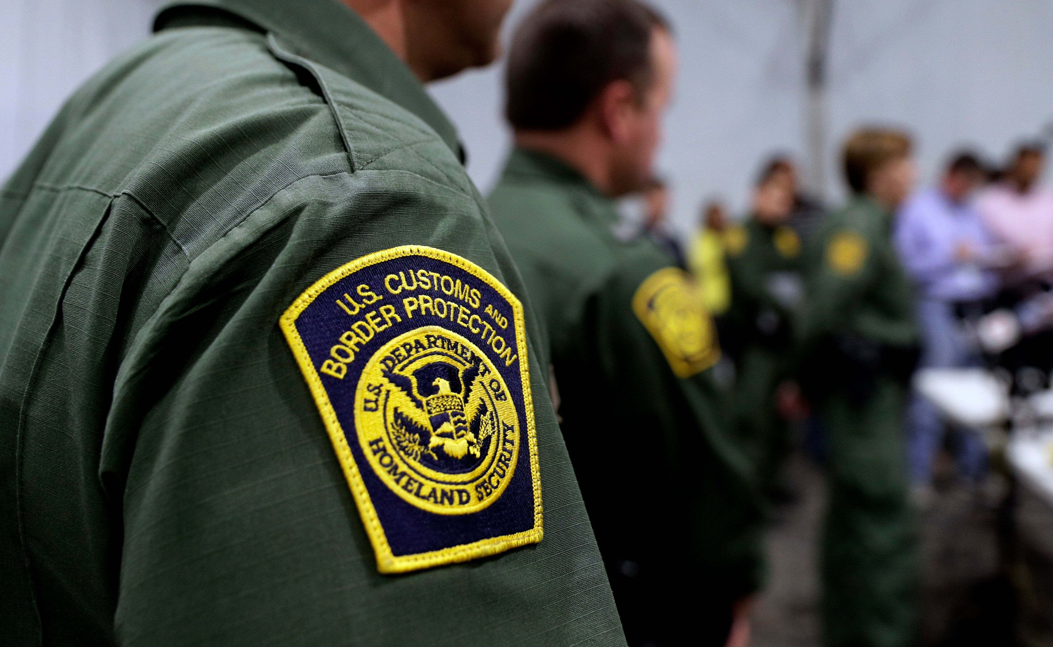 Border Patrol agents hold a news conference prior to a media tour of a new U.S. Customs and Border Protection temporary facility near the Donna International Bridge, Thursday, May 2, 2019, in Donna, Texas. Officials say the site will primarily be used as a temporary site for processing and care of unaccompanied migrant children and families and will increase the Border Patrol's capacity to process migrant families. (AP Photo/Eric Gay)