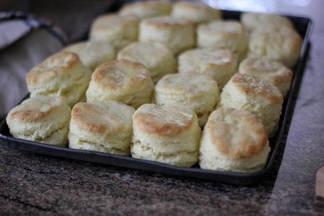 Erika Council's biscuits with syrup butter are crisp on the bottom and will hold a piece of country...