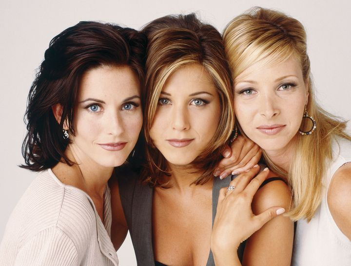 "Courteney Cox, Jennifer Aniston and Lisa Kudrow in a 1995 promotional photo for ""Friends."""