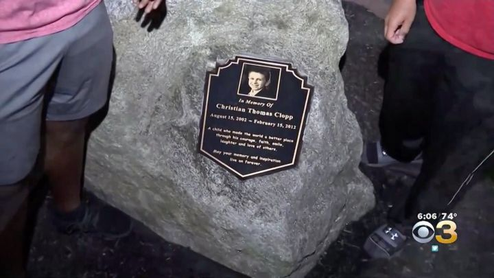 The monument was erected to pay tribute to Christian Clopp, a 9-year-old local Scout who died as a result of an inoperable brain tumor.