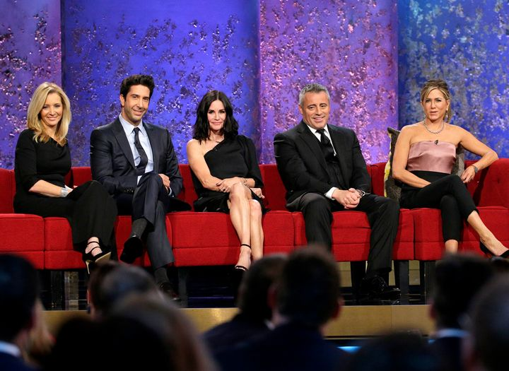 "Almost all of the ""Friends"" cast gathered for a reunion at the tribute to director James Burrows in 2016."