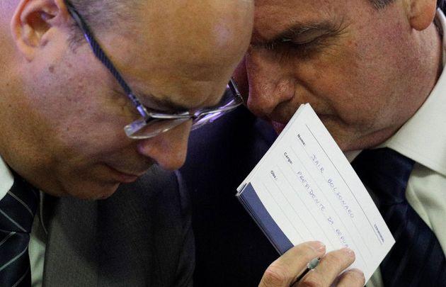 O presidente Jair Bolsonaro ao lado do governador do Rio de Janeiro, Wilson Witzel