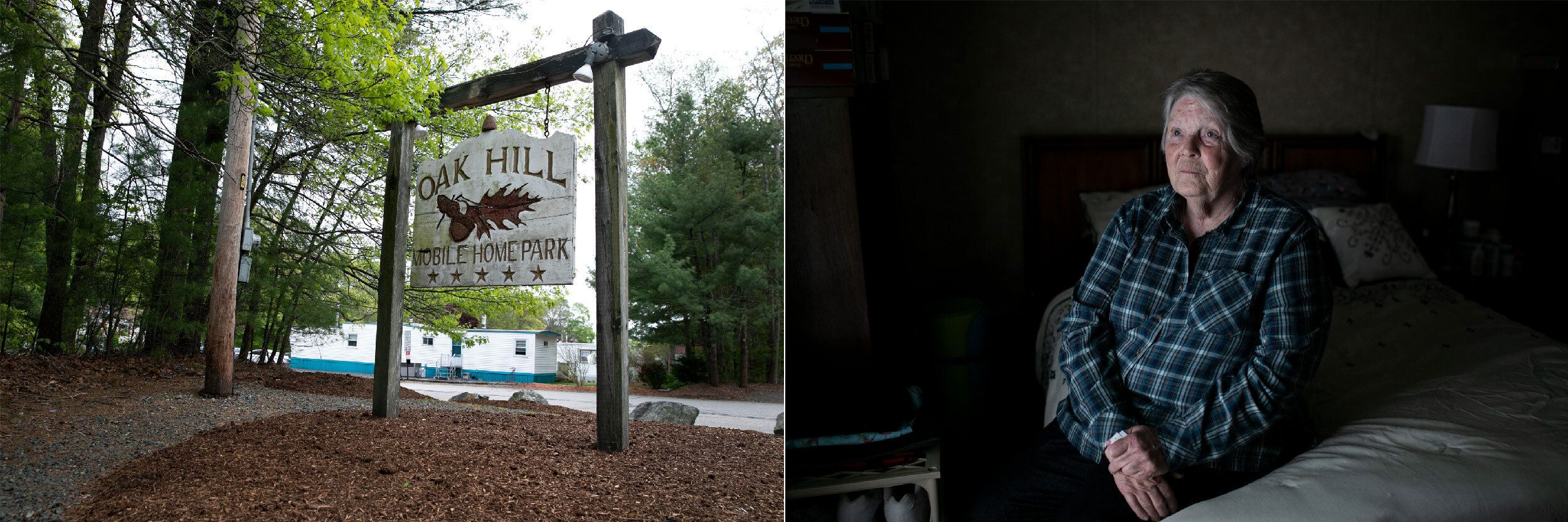 Left: The entrance to Oak Hill Mobile Home Park. Right: Kathy Zorotheos poses for a portrait inside her home in the resi