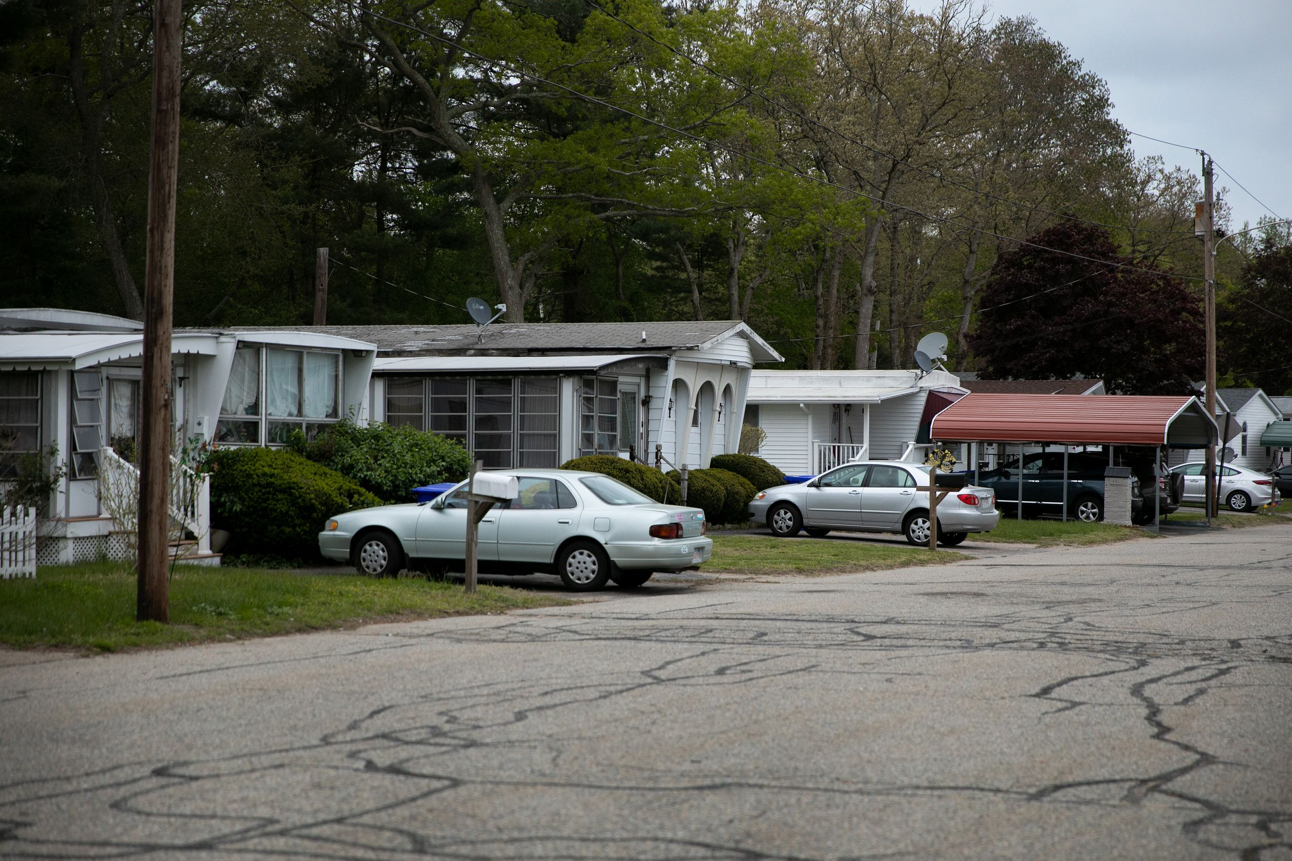 A view of homes in the resident-owned Oak Hill Mobile Home Park on May 19, 2019, in Taunton, Massachusetts.