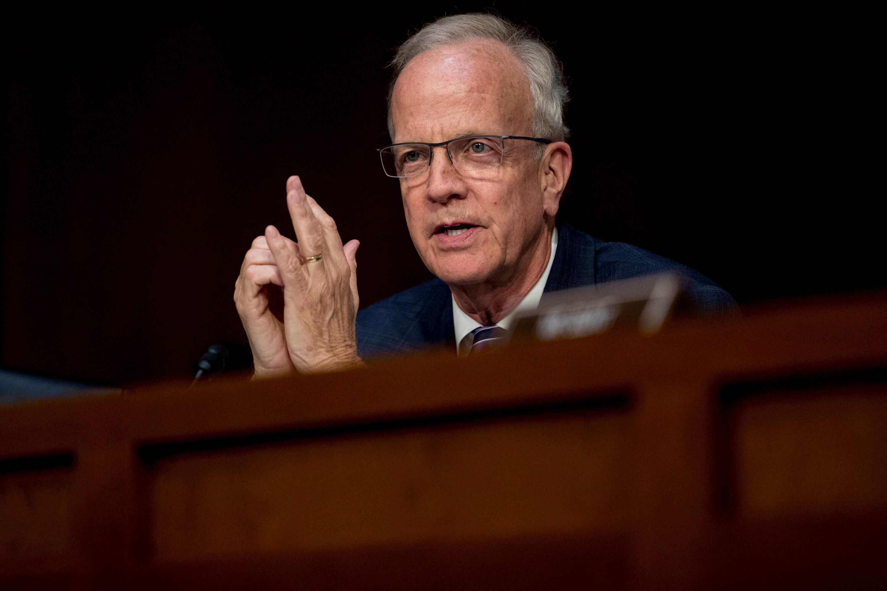 Sen. Jerry Moran, R-Kan., speaks as Federal Aviation Administration Acting Administrator Daniel Elwell, National Transportation Safety Board Chairman Robert Sumwalt, and Department of Transportation Inspector General Calvin Scovel appear before a Senate Transportation subcommittee hearing on commercial airline safety, on Capitol Hill, Wednesday, March 27, 2019, in Washington. Two recent Boeing 737 MAX crashes, in Ethiopia and Indonesia, which killed nearly 350 people, have lead to the temporary grounding of models of the aircraft and to increased scrutiny of the FAA's delegation of a number of aspects of the certification process to the aircraft manufacturers themselves. (AP Photo/Andrew Harnik)