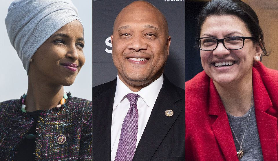 Ilhan Omar, left, Andre Carson, and Rashia Tlaib