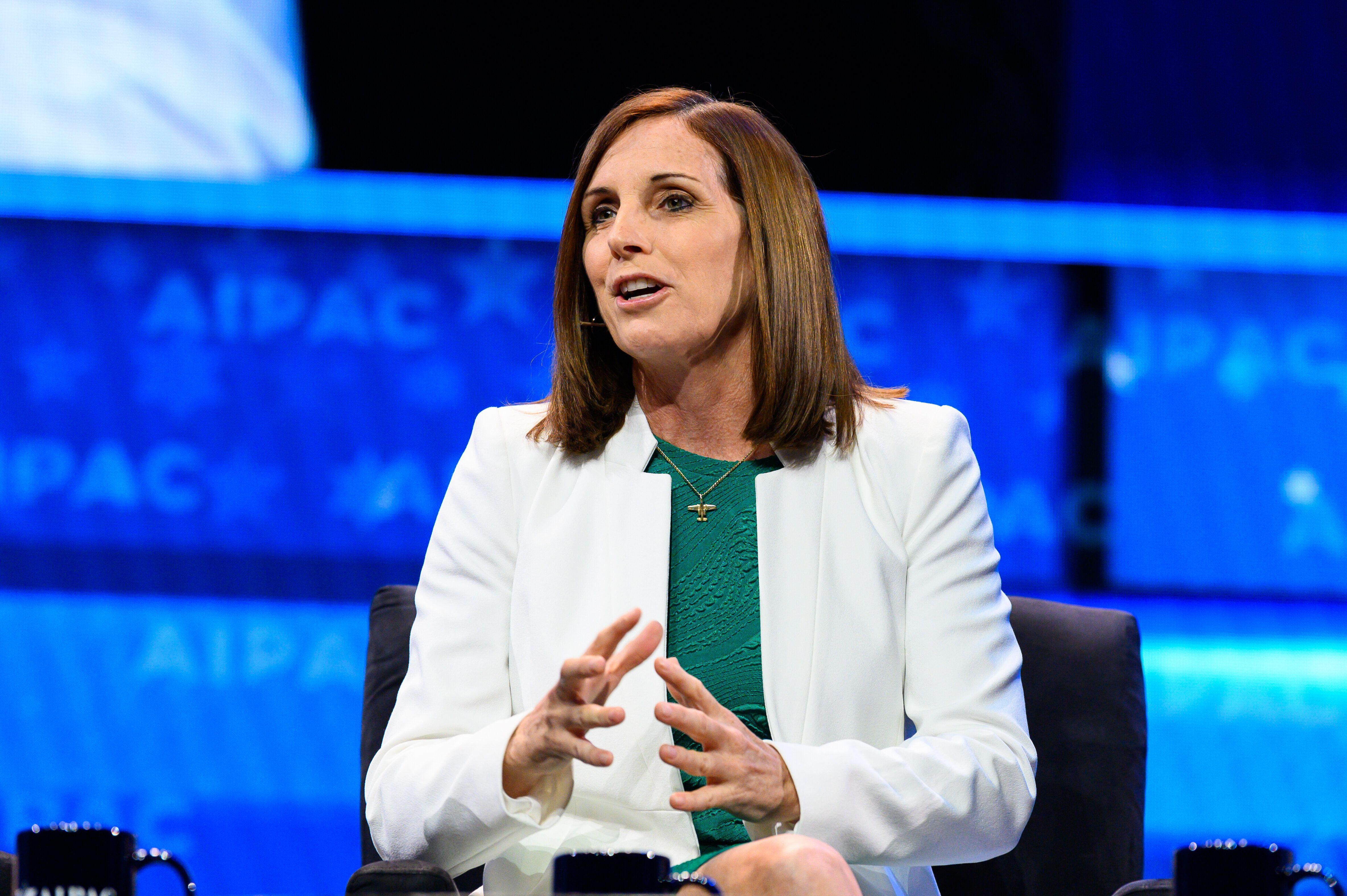 WASHINGTON, DC, UNITED STATES - 2019/03/25: U.S. Senator Martha McSally (R-AZ) seen speaking during the American Israel Public Affairs Committee (AIPAC) Policy Conference in Washington, DC. (Photo by Michael Brochstein/SOPA Images/LightRocket via Getty Images)