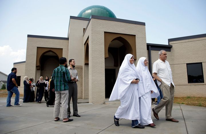 Worshipers leave the Islamic Center of Murfreesboro after midday prayers in Murfreesboro, Tennessee.
