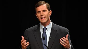 Kentucky Democratic candidate for Governor Attorney General Andy Beshear, responds during a debate at Transylvania University in Lexington, Ky., Wednesday, April 24, 2019. (AP Photo/Timothy D. Easley)