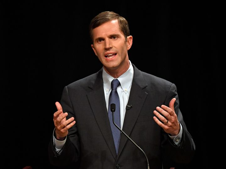 Attorney General Andy Beshear during a debate in Lexington, Kentucky, on April 24. Beshear is running as a defender of health