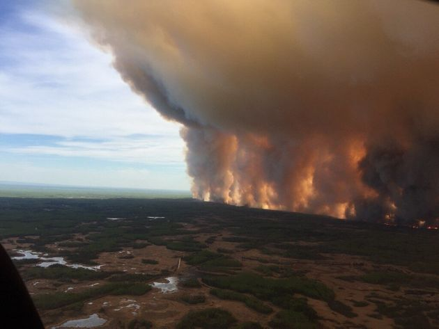 The Chuckegg Creek fire is seen from the air in a government of Alberta handout photo taken near the...