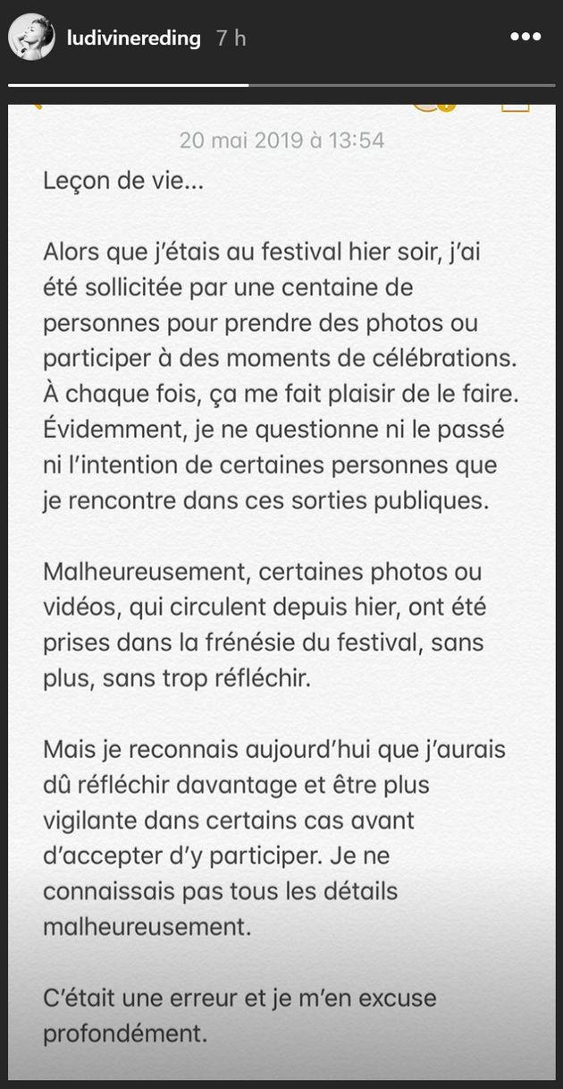 Ludivine Reding s'excuse pour certaines photos prises durant le festival Metro