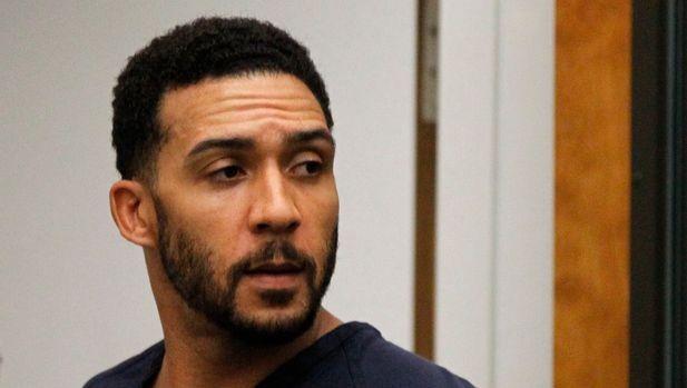 FILE - In this June 15, 2018, file photo, former NFL football player Kellen Winslow Jr., center, leaves his arraignment in Vista, Calif. Winslow, a former NFL No. 1 draft pick and son of a Hall of Famer who starred for his hometown San Diego Chargers, goes on trial Monday, May 20, 2019, on multiple charges including raping two women last year and raping an unconscious 17-year-old girl. He has pleaded not guilty to all charges.(Hayne Palmour/San Diego Union-Tribune via AP, Pool, File)