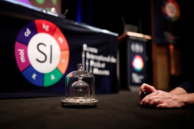 Replica of the International Prototype Kilogram is seen at the 26th meeting of the General Conference...