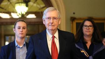 U.S. Senate Majority Leader Mitch McConnell (R-KY) leaves the Senate floor and walks back to his office after the failure of both competing Republican and Democratic proposals to end the partial government shutdown in back to back votes on Capitol Hill in Washington, U.S., January 24, 2019. REUTERS/Leah Millis
