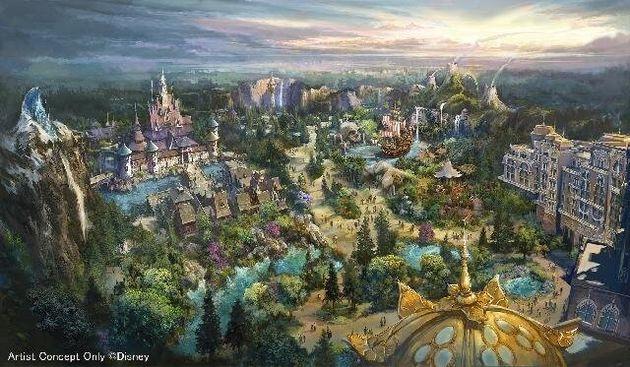 東京ディズニーシーに2023年度開業予定の新エリア「ファンタジースプリングス」の全景イメージ画像