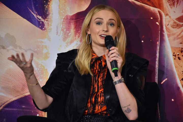 X-Men Dark Phoenix - Press ConferenceBritish actress Sophie Turner speaks during a press conference to promote X-Men: Dark Phoenix at Four Season Hotel on May 15, 2019 in Mexico City, Mexico (Photo by Carlos Tischler/NurPhoto via Getty Images)
