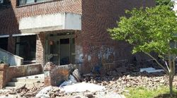 부산대 건물 외벽이 무너져 1명이