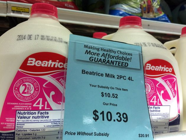 A price tag shows the cost of a four-litre jug of milk at a grocery store in Iqaluit on Dec. 8,